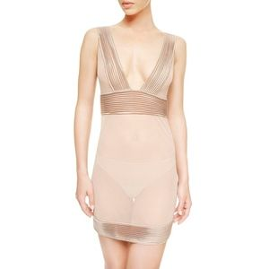 NWT LA Perla Tulle Nervures Slip with G-String XS